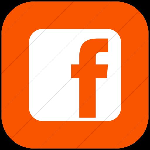 Flat Rounded Square White On Orange Raphael Facebook Icon