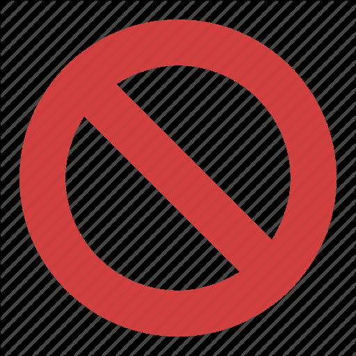 Circle Backslash Symbol, International Prohibition Sign, Nay, No