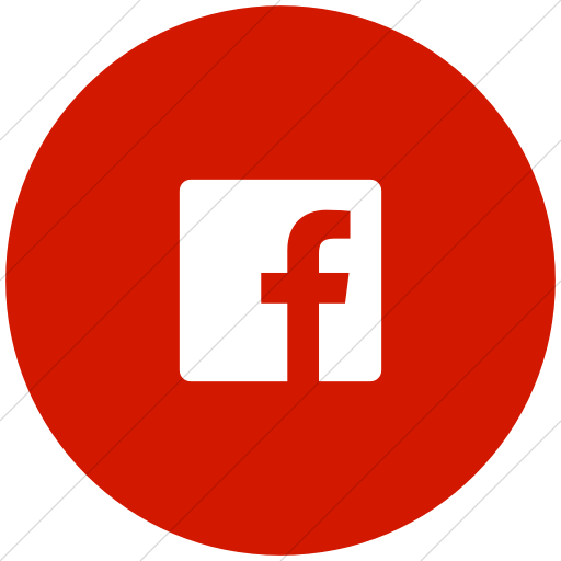 Flat Circle White On Red Foundation Social Facebook Icon