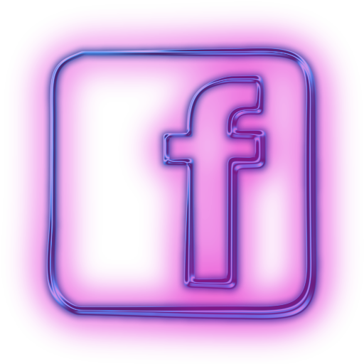 Glowing Purple Neon Icon Social Media Logos Facebook Logo