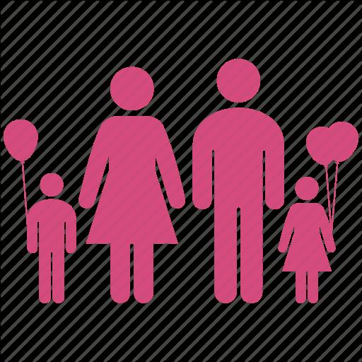 Balloon, Childrens, Family, Group, Kids, Kin, Parents Icon