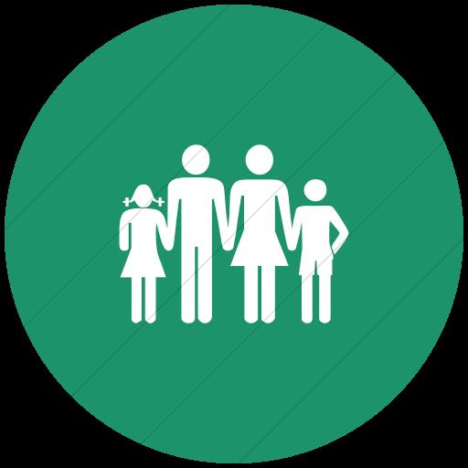 Flat Circle White On Aqua Classica Family Icon