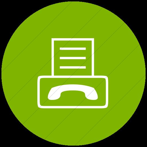 Flat Circle White On Green Classica Fax Machine Icon