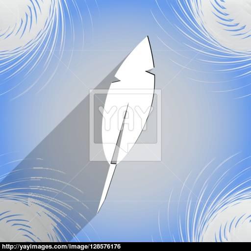 Feather Retro Pen Icon Symbol Flat Modern Web Design With Long