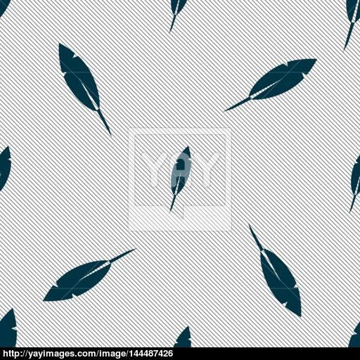 Feather Sign Icon Retro Pen Symbo Seamless Pattern