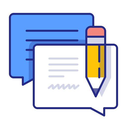 Bubble, Chat, Feedback, Message, Pencil, Support, Talk Icon