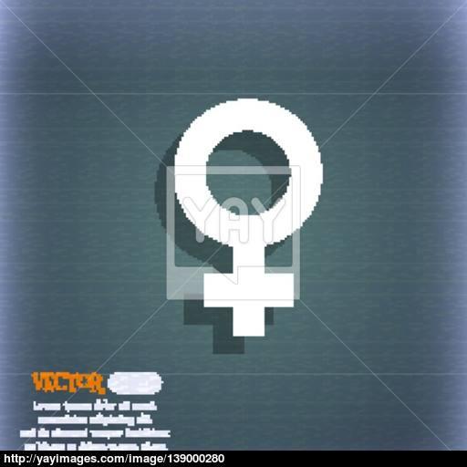 Symbols Gender, Female, Woman Sex Icon Symbol On The Blue Green