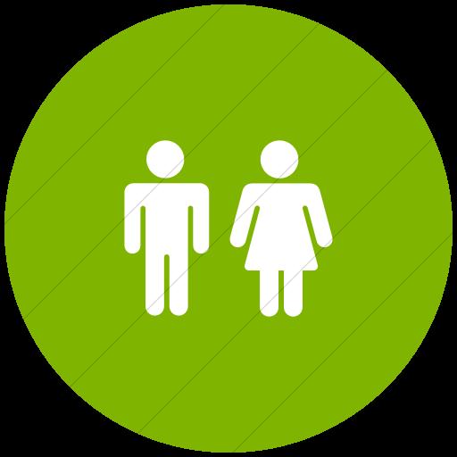 Flat Circle White On Green Foundation Male Female Icon