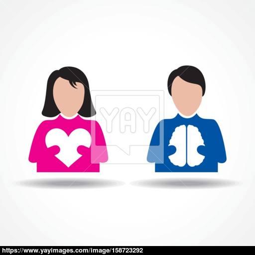 Male Female Icon Having Heart And Brain Stock Vector Vector