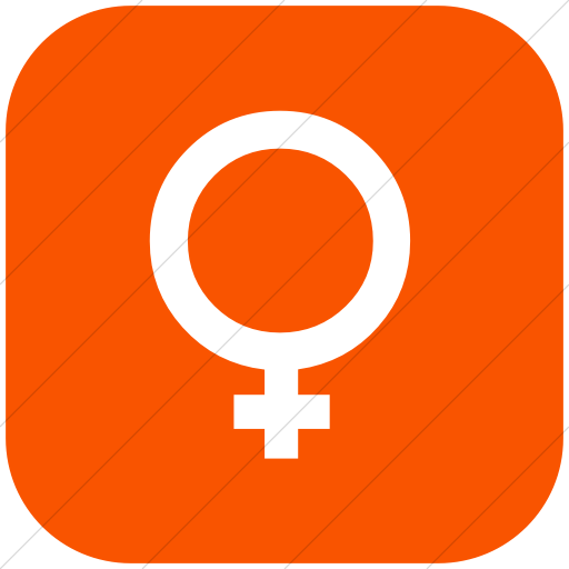 Flat Rounded Square White On Orange Classica Female