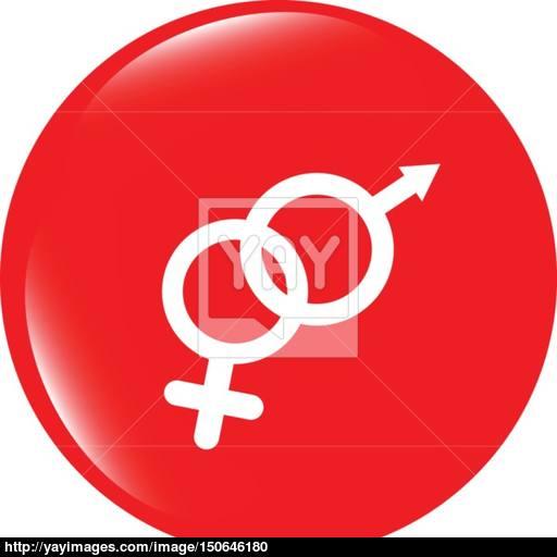 Vector Icon Web Button With Male Female Symbol Vector