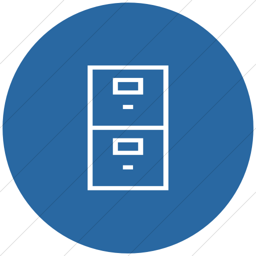 Flat Circle White On Blue Classica Filing Cabinet Icon