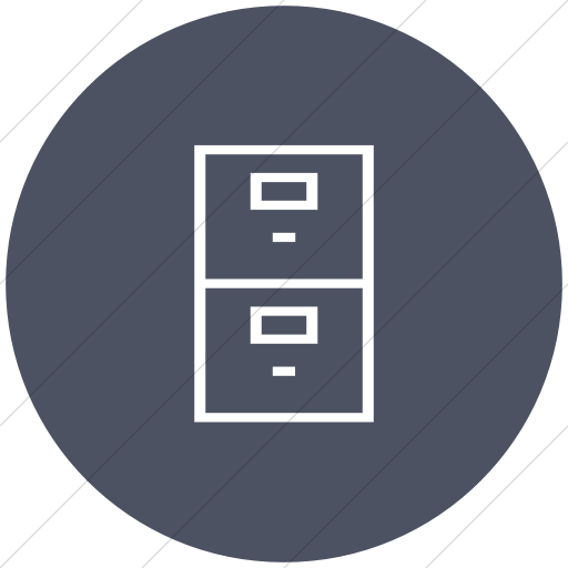 Flat Circle White On Blue Gray Classica Filing Cabinet Icon