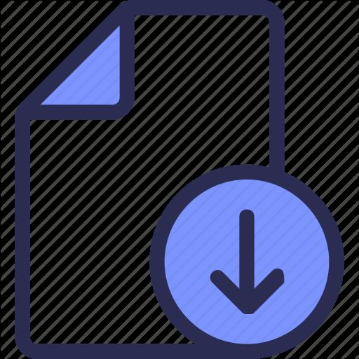 Arrow, Document, Download, Icon