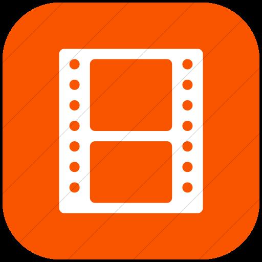 Flat Rounded Square White On Orange Broccolidry Film Icon