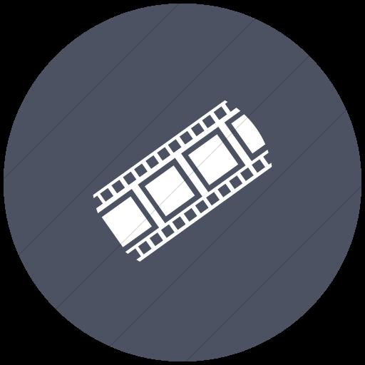 Flat Circle White On Blue Gray Classica Film Strip Icon
