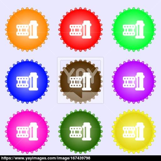 Film Icon Sign Big Set Of Colorful, Diverse, High Quality Buttons