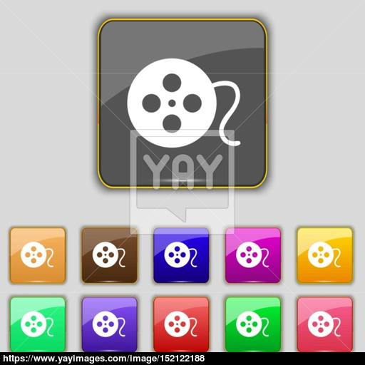 Film Icon Sign Set With Eleven Colored Buttons For Your Site