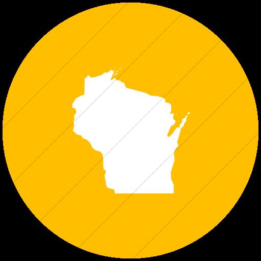 Flat Circle White On Yellow Us States Wisconsn