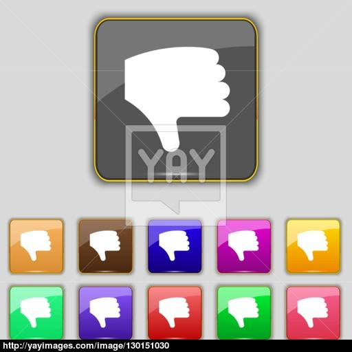 Dislike, Thumb Down, Hand Finger Down Icon Sign Set With Eleven