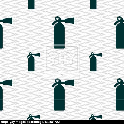 Fire Extinguisher Icon Sign Seamless Pattern With Geometric
