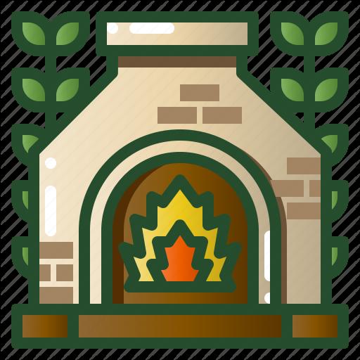 Backyard, Fire, Fireplace, Patio, Pit, Stone Icon