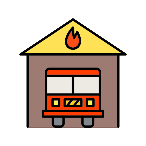 Fire, Fire Brigade, Fire Station, Fire Works, Station Icon