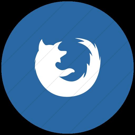 Flat Circle White On Blue Social Media Firefox Icon