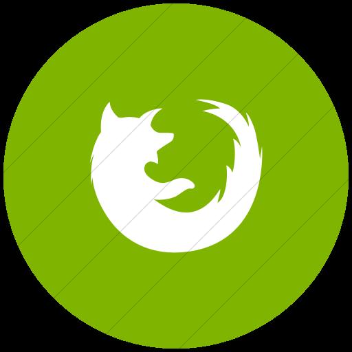 Flat Circle White On Green Social Media Firefox Icon