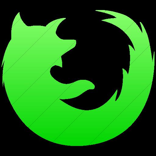 Simple Ios Neon Green Gradient Social Media Firefox Icon