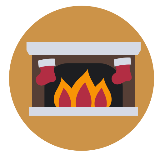Glow, Stocking, Christmas, Warm, Fireplace Icon