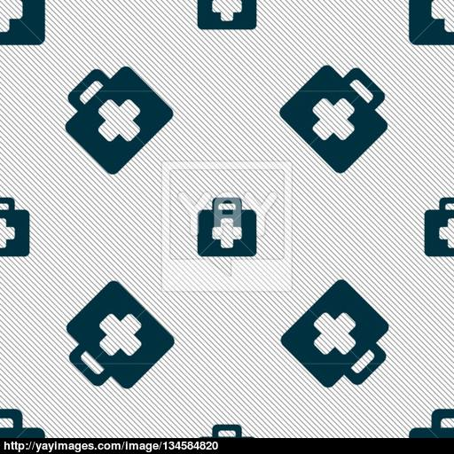 First Aid Kit Icon Sign Seamless Pattern With Geometric Texture