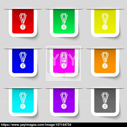 The Medal For First Place Icon Sign Set Of Multicolored Modern