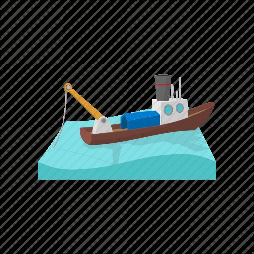 Boat, Cartoon, Fishing, Sea, Ship, Vessel, Water Icon