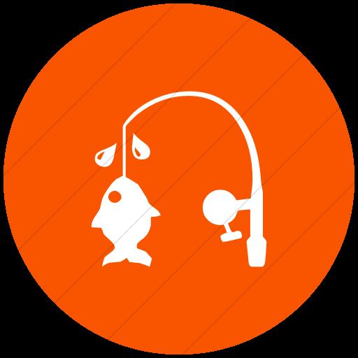 Flat Circle White On Orange Classica Fishing Pole