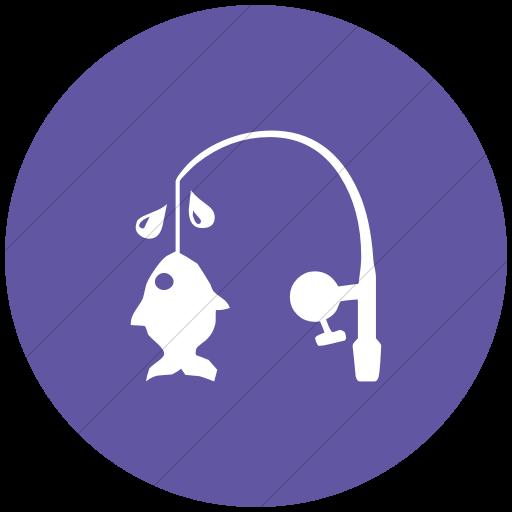 Flat Circle White On Purple Classica Fishing Pole