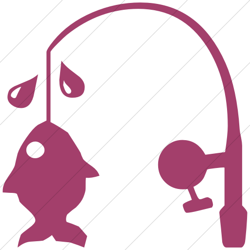 Simple Pink Classica Fishing Pole And Fish Icon