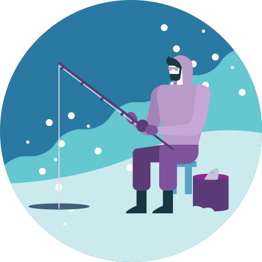 Activity, Fishing, Ice, Lake, Snowfall, Winter Icon Free Of Winter