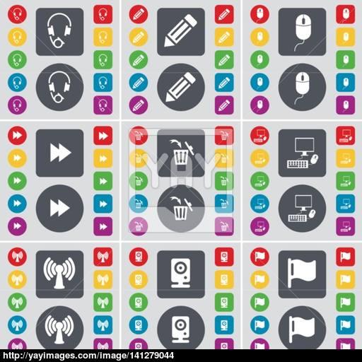 Headphones, Pencil, Mouse, Rewind, Trash Can, Pc, Wi Fi, Speaker