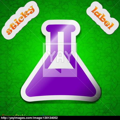 Conical Flask Icon Sign Symbol Chic Colored Sticky Label On Green