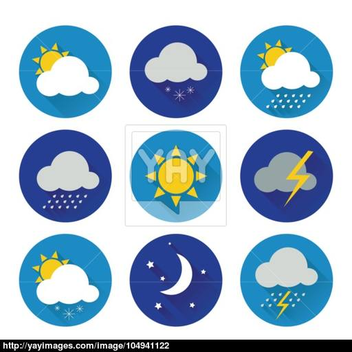 Set Of Flat Color Weather Icons Vector
