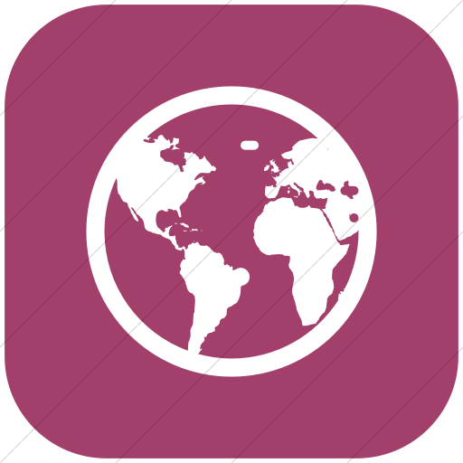 Flat Rounded Square White On Pink Broccolidry Globe Icon