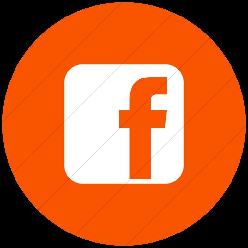 Flat Circle White On Orange Raphael Facebook Icon