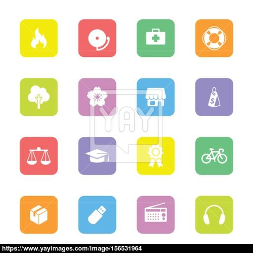 Colorful Simple Flat Icon Set On Rounded Rectangle Vector