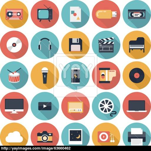 Multimedia Flat Icons Set Vector