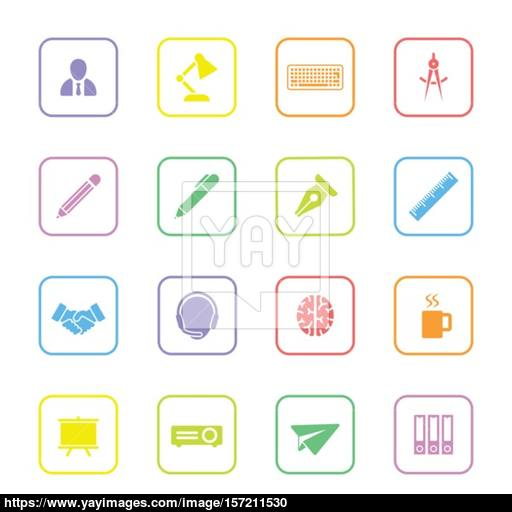 Colorful Flat Icon Set With Rounded Rectangle Frame Vector