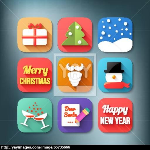 Flat Icons Set Christmas Theme Vector