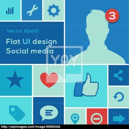 Flat Ui Design Trend Social Media Set Icons Vector