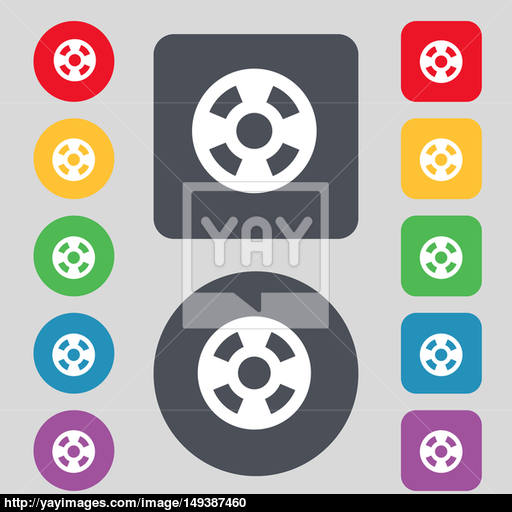 Film Icon Sign A Set Of Colored Buttons Flat Design Image