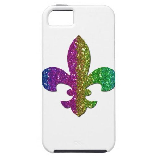 Glitter Sparkle Fleur De Lis Multi Color Add Name Iphone